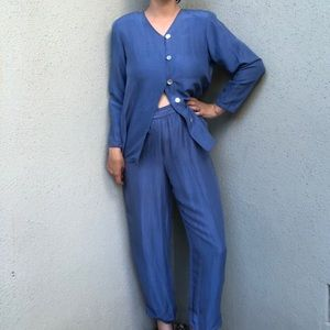 [vintage] azure raw silk two piece lounge set